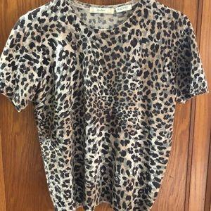 Leopard cashmere Neiman Marcus sweater tee